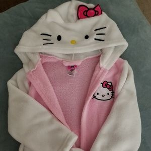 Hello Kitty (Girls S) super soft hooded tie robe